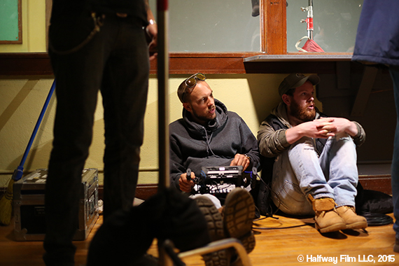 Ben on the set of Halfway with producer Jonny Paterson. © Halfway Film LLC, 2015