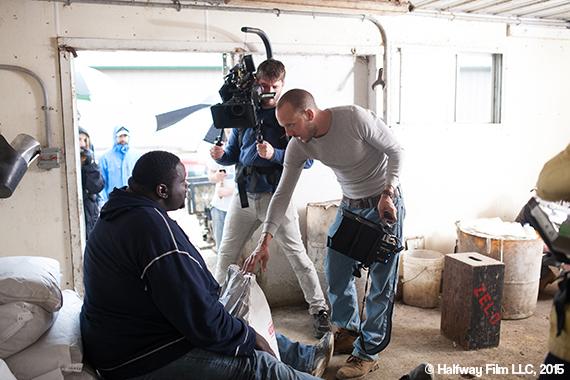 Quinton on the set of Halfway with writer/director Ben Caird. © Halfway Film LLC, 2015