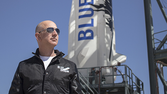 Jeff Bezos, founder of Blue Origin, inspects New Shepard's West Texas launch facility before the rocket's maiden voyage. Photo credit: Blue Origin
