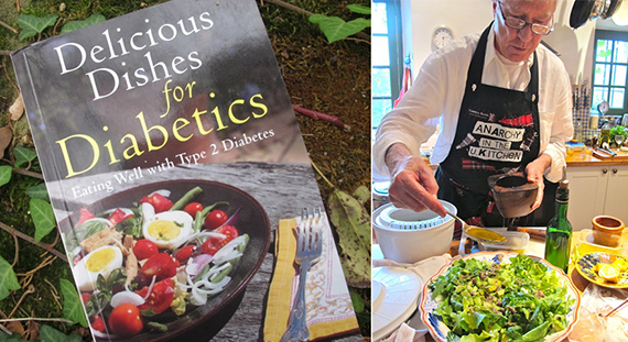 Left: Robin's first cookbook. Right: Cooking in his own kitchen. Photos credit: Meredith Wheeler