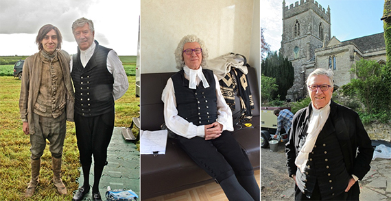 Left: Robin and Alexander Arnold who plays Jim Carter in the new series. Middle: Sitting in his trailer awaiting the call. Right: The end of the first day's shoot at Horton Court near Bristol (where some of Wolf Hall was filmed, too!). Photos credit: Meredith Wheeler