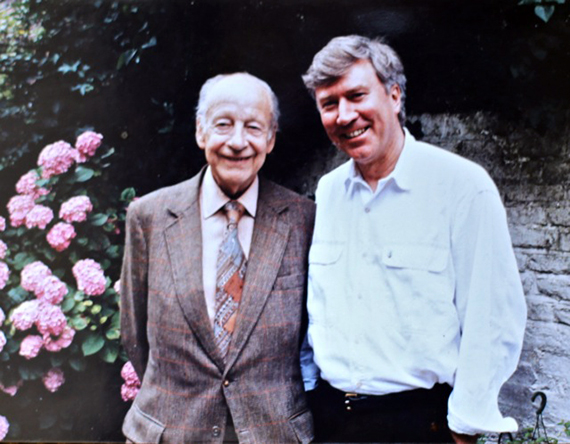 Robin with Poldark author Winston Graham in Robin and Meredith's back garden in London, c. 1990. Photo credit: Meredith Wheeler