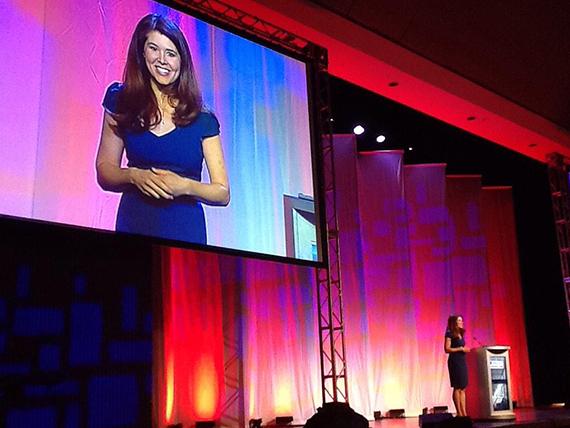 Michelle as keynote speaker for Training magazine. Photo: Michelle Gielan.
