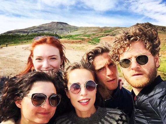 Poldark cast members Ruby Bentall, Eleanor Tomlinson, Jack Farthing, and Kyle Soller visited Heida in Iceland this summer. Photo: Heida Reed via Twitter. All Heida's photos via Twitter used with permission.