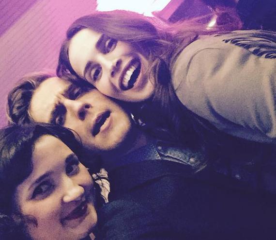 """Heida with Poldark cast members Ruby Bentall (""""Verity Poldark"""") and Jack Farthing (""""George Warleggan""""). Photo: Heida Reed via Twitter."""