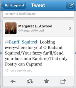"""""""My proudest moment on Twitter,"""" says Banff Squirrel."""