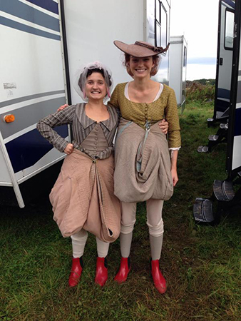 """The behind-the-scenes elegance of portraying the 18th century life. Ruby with Eleanor Tomlinson (""""Demelza Carne Poldark"""")."""