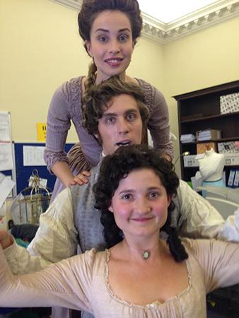 """Ruby having fun on set of Poldark with Heida Reed (""""Elizabeth Chynoweth"""") and Jack Farthing (""""George Warleggen"""")."""