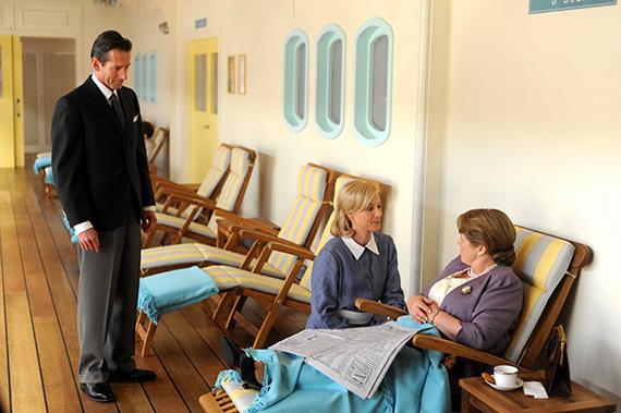 Where it all began: Season 1, episode 1. Brett Climo (George Bligh), Marta Dusseldorp (Sarah Adams), and Noni (Elizabeth Bligh). Photo: Acorn TV.