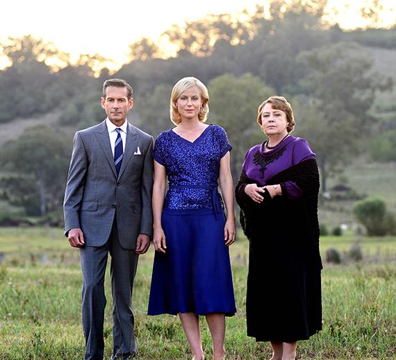Brett Climo (George Bligh), Marta Dusseldorp (Sarah Adams), and Noni (Elizabeth Bligh). Photo: Acorn TV.