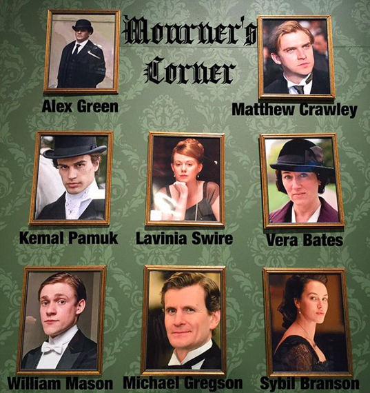 Downton Abbey's dearly (and not so dearly) departed are honored on Manor of Speaking's Mourner's Corner. Photo: Houston Public Media.