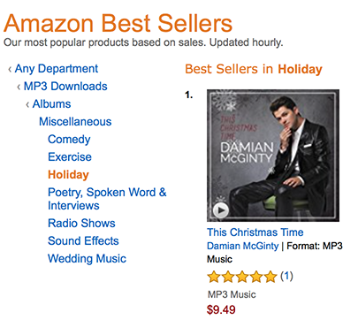This Christmas Time also hit number one at Amazon on its release date.