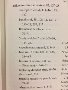 """The index listings for """"failure"""" in Creativity, Inc."""
