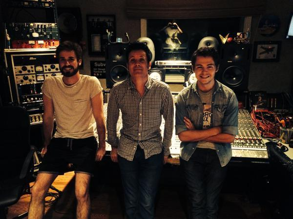 Gabriel Hugoboom, left, in Warren's studio with Warren (center) and Damian McGinty (right), working on music for another album. Photo: KASIA HUART
