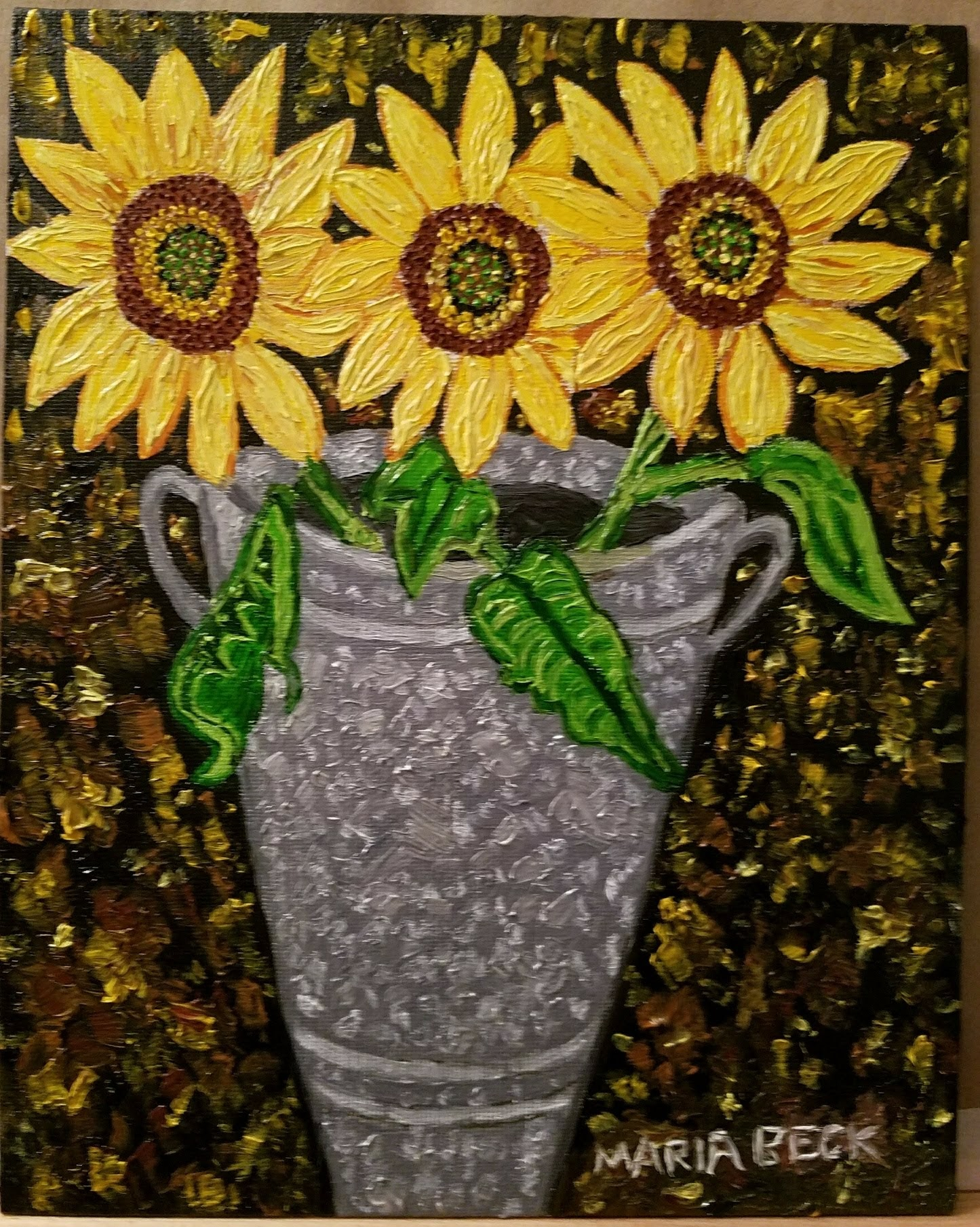 Sunflowers in a Tin Vase
