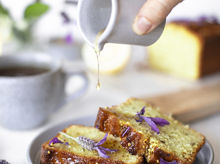 Lemon Lavender Cake with Honey Syrup