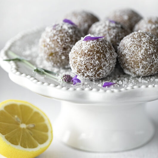 Quick and Easy Lavender Lemon Honey Bliss Balls. GF, Refined Sugar-free Recipe.