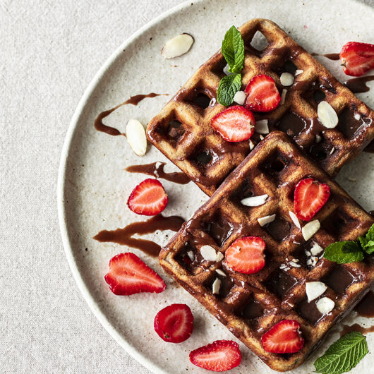 Vanilla Buckwheat Waffles with Organic Honey and Cacao. GF, Refined Sugar-free Recipe.