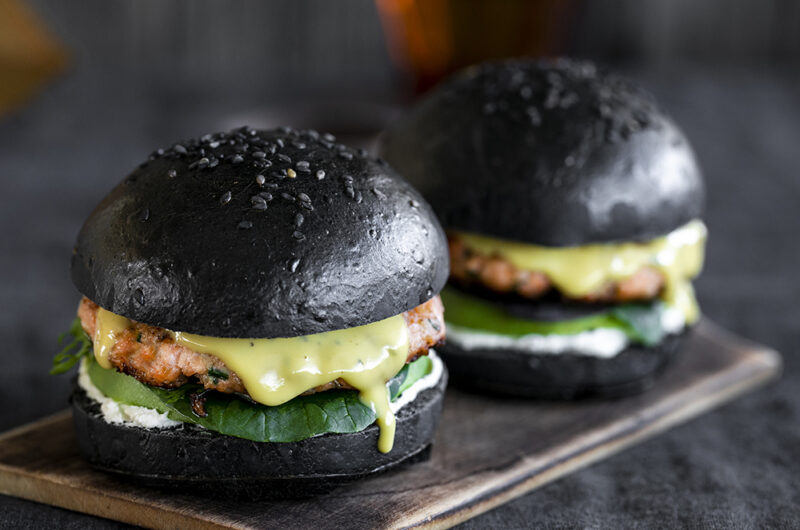 Black Bun Salmon Burger