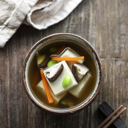 Koya-dofu (Freeze-dried Tofu) Simmered in Aromatic Dashi Stock. Vegan recipe.