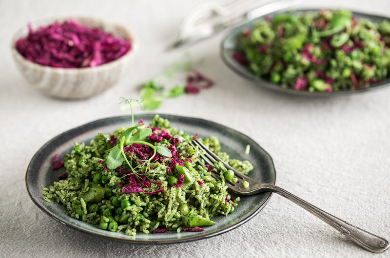 Green rice with probiotic Heart Beet Kraut seasoning