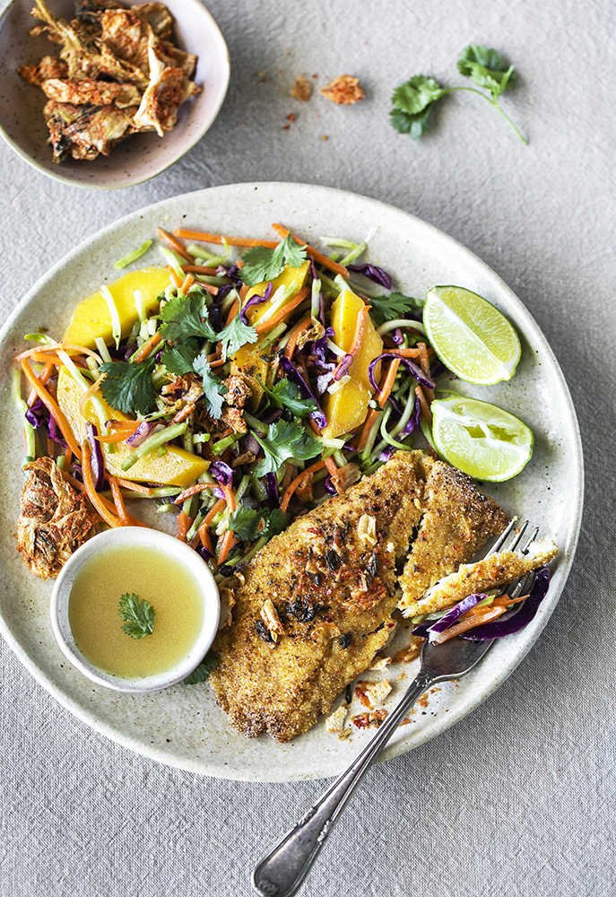 Pan-fried kimchi crumbled fish with mango-lime slaw