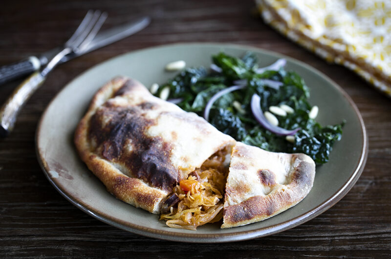 Sourdough Pie with Sauerkraut and Chorizo Stew