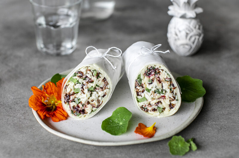 Poached Chicken, Apple, Cranberry and Celery Salad Wrap.