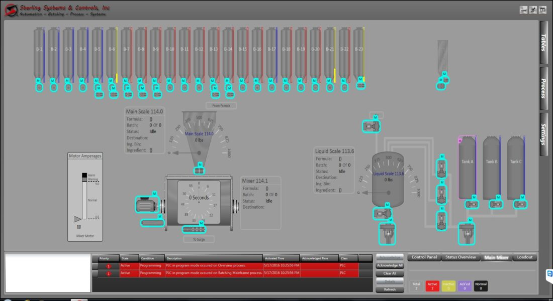 PROCESS CONTROLS AND AUTOMATION MIXING SCREEN