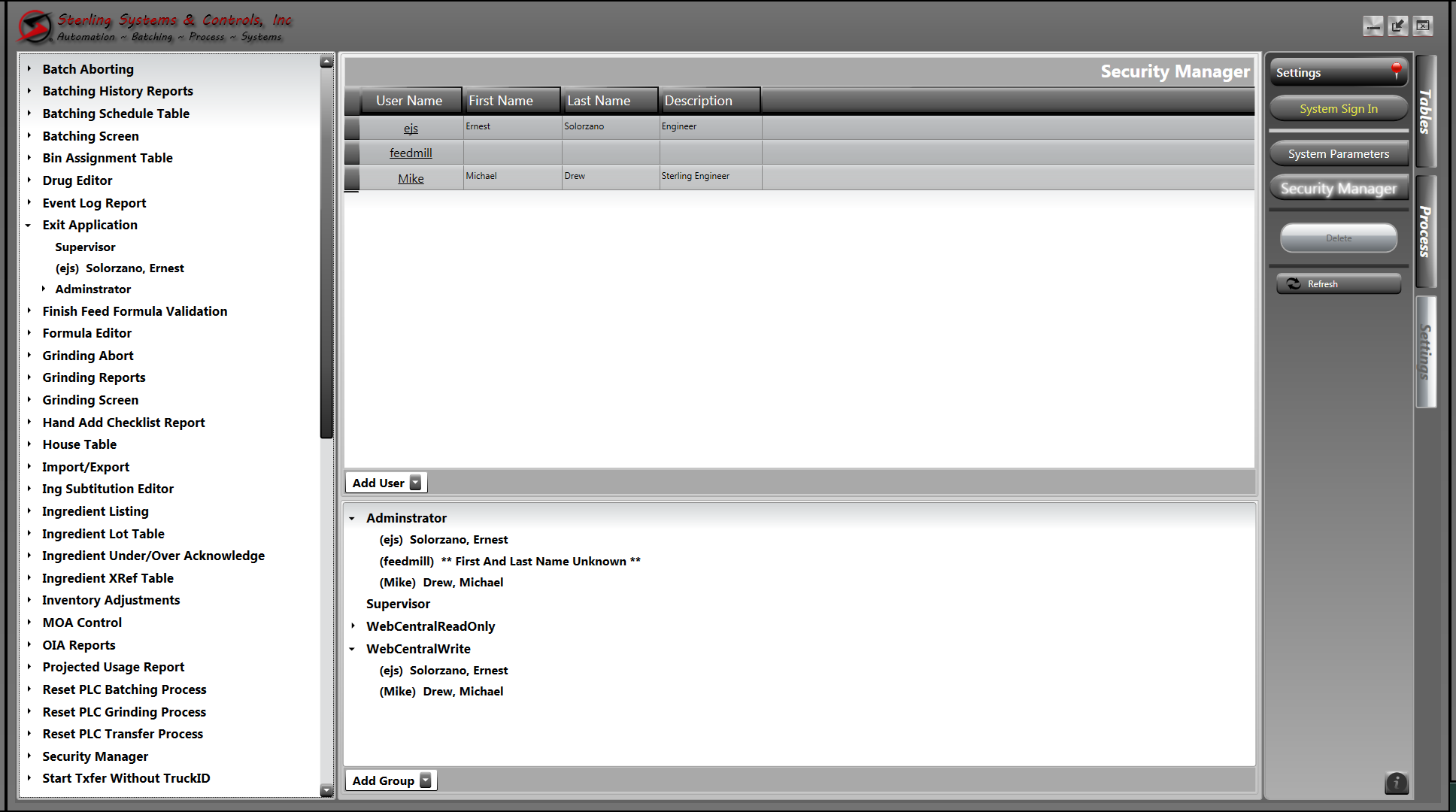 SECURITY MANAGER WEBCENTRAL SCREEN
