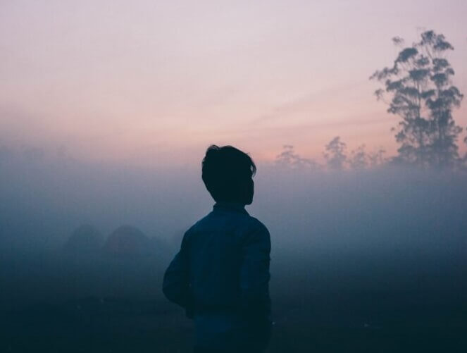 SIde shot of a boy looking at trees