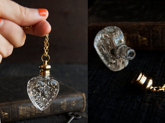 Perfume Bottle Necklace with Scent