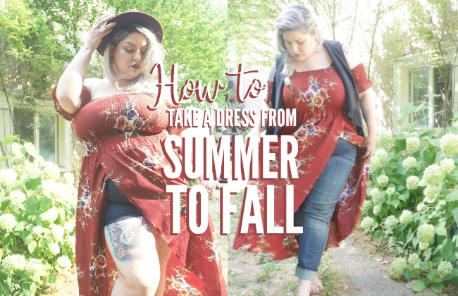 Plus Size Fashion   How to take a dress from Summer to Fall