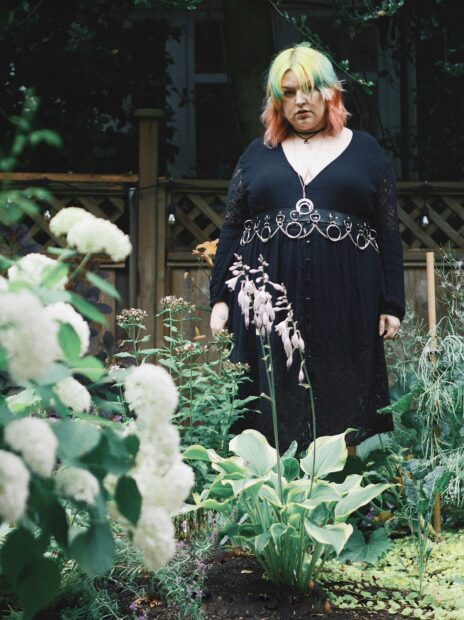 Plus Size Goth Girl Standing in Garden - margotmeanie.com