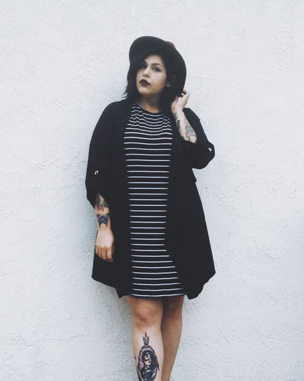 plus size alternative style -a girl black and white striped tunic and long jacket
