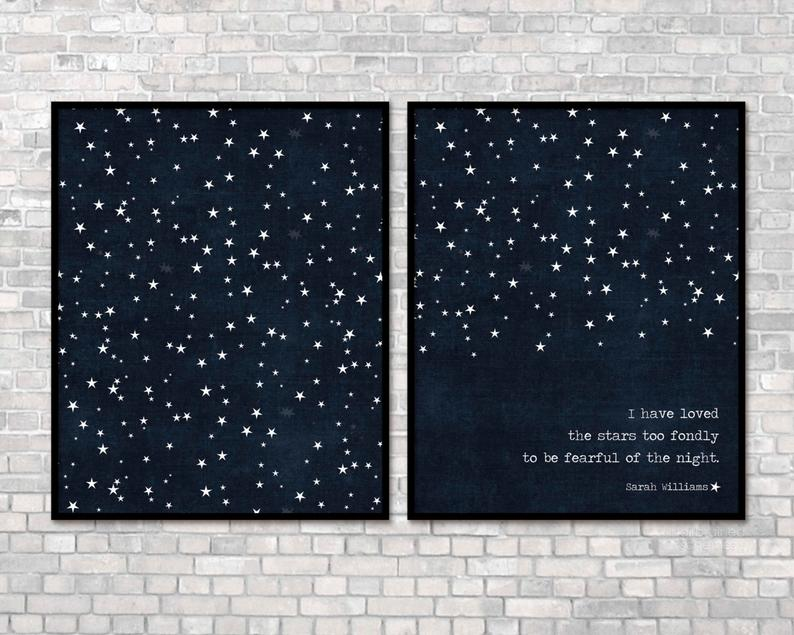 I have love the stars too fondly prints on darkblue background with stars
