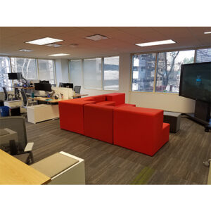 US Foods remodeled offices with couch and tv