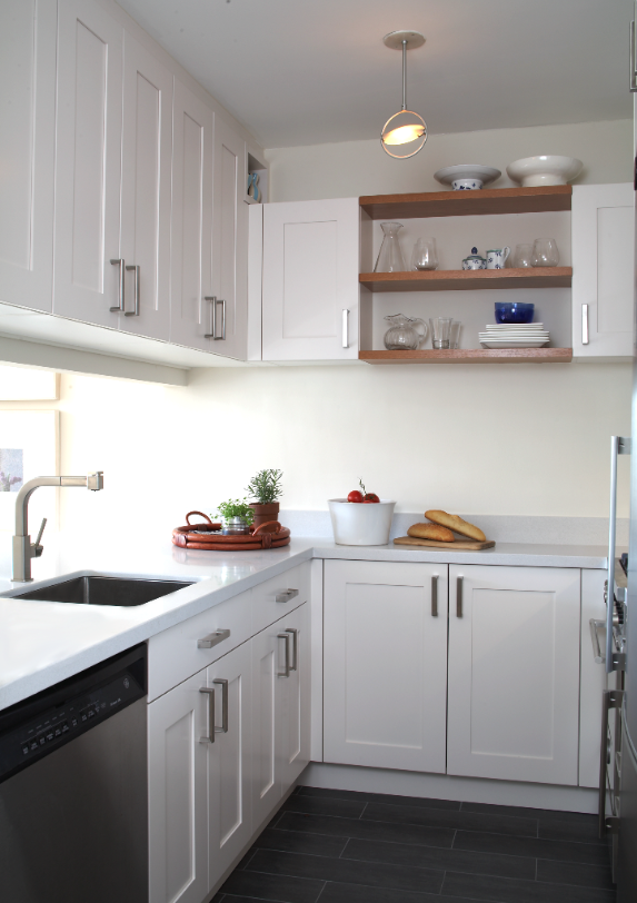 Cabinets from Brookhaven give our small kitchen substance