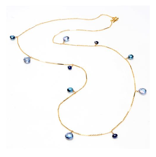 A Tazorite and Lapis necklace by Wendy Mink.