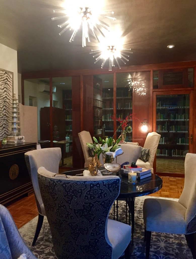 The den/library at the Fairchild-Sweeney House by the Gallery Interiors.