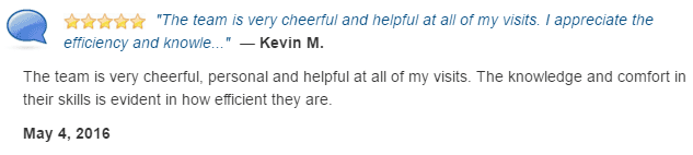 The team is very cheerful, personal, helpful, knowledgable, at ease, and efficient.
