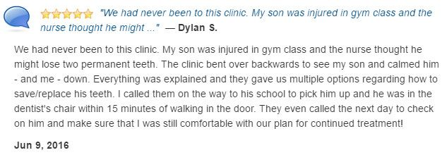 My son was injured at school and at risk to lose two permanent teeth. The clinic bent over backwards to help my son.