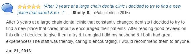 I changed dentists after 3 years at a large chain dental clinic. I am so glad I did.