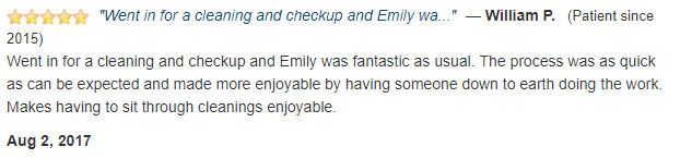 Emily was fantastic as usual.Makes having to sit through cleanings enjoyable.