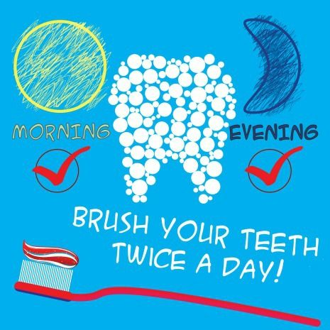 Kids dental health daily routine includes brushing 2 times daily and flossing daily