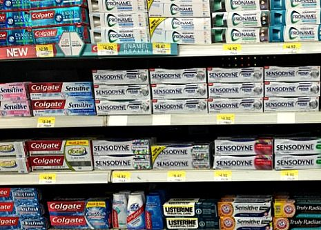 Toothpaste aisle at store
