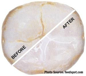 Image of before and after placement of a dental sealant