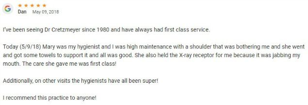 I have been seeing Cretzmeyer since 1980 and have always had first class service! I recommend this practice to anyone!