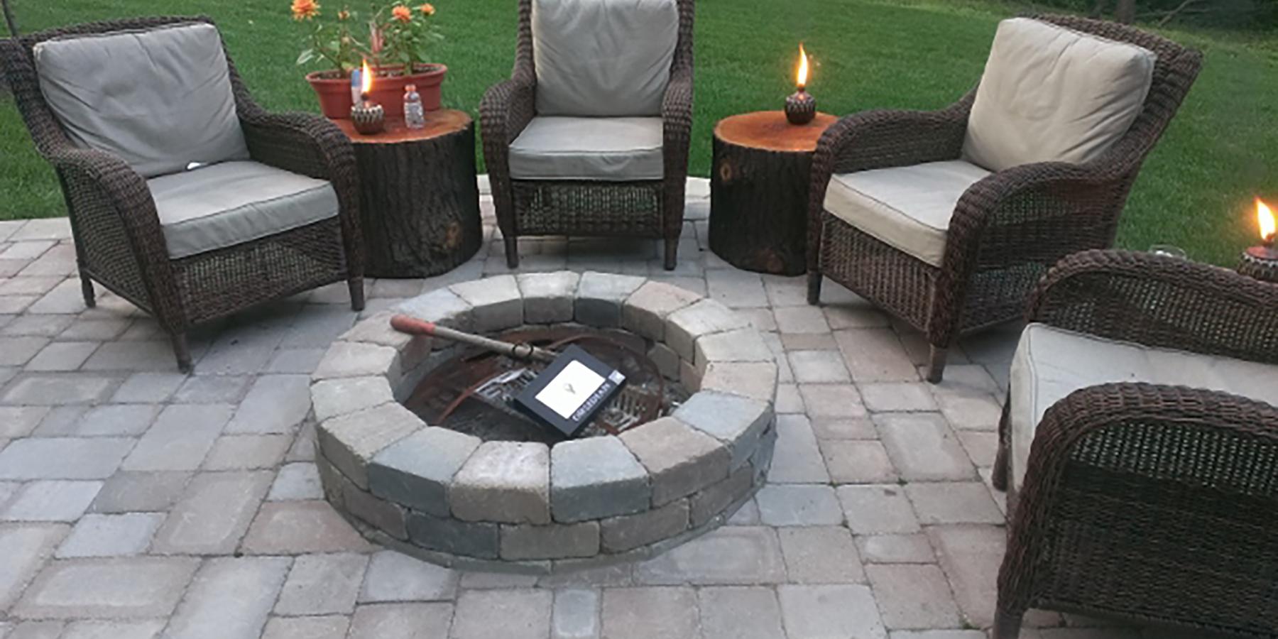Brick paver fireplace and patio