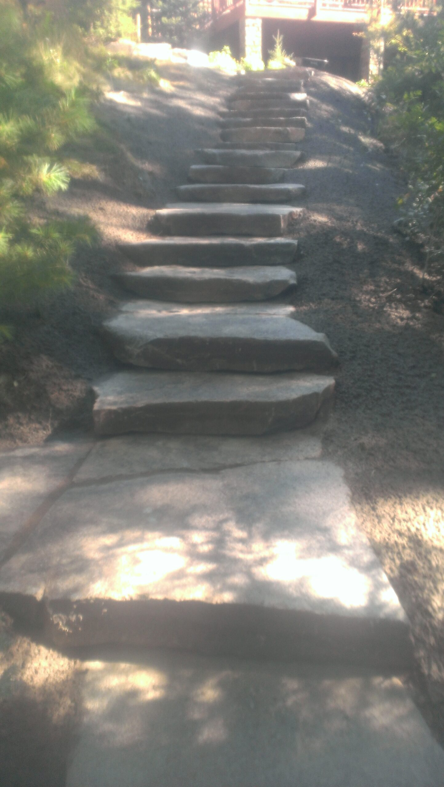 Outcropping steps by Twin Oaks Landscaping